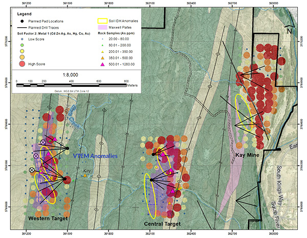Coincident VTEM, Soil, and Rock anomalies over the Kay Mine, Central Target, and Western Target.